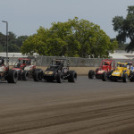 Chris Windom (17) leads the field during Saturday's Traxxas USAC Silver Crown Series race at the Illinois State Fairgrounds. (Mark Funderburk Photo)