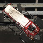 Brandon Stevenson crashes during Tuesday's USAC Ultimate Challenge at Southern Iowa Speedway. (Frank Smith Photo)