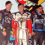 Brooke Tatnell (center), Tim Kaeding (right) and Daryn Pittman (left) made up the podium after Friday's SPEED SPORT World Challenge at Knoxville (Iowa) Raceway. (Hein Brothers Photo)