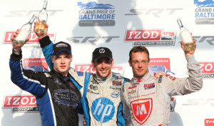Simon Pagenaud (center), Josef Newgarden (left) and Sebastien Bourdais made up the podium after Sunday's Grand Prix of Baltimore. (IndyCar Photo)
