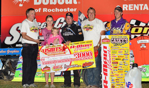 Jason Hughes won Saturday's United States Modified Touring Series event at Deer Creek Speedway. (Buck Monson Photo)