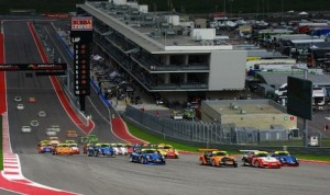 The field for Saturday's  IMSA GT3 Cup Challenge heads into the first turn at Circuit of The Americas.