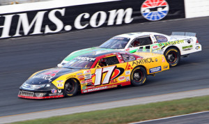 Ray Parent (17) on his way to victory in the 2012 edition of the ACT Invitational at New Hampshire Motor Speedway. (HHP/Alan Marler Photo)