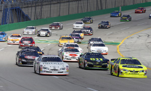 Frank Kimmel (44) and Erik Jones (15) lead the field at the start of the 2013 ARCA Racing Series event at Kentucky Speedway. (HHP/Gregg Ellman Photo)