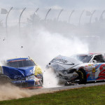 Ryan Gifford (2) and Ben Kennedy crash during Saturday's NASCAR K&N Pro Series East event at New Hampshire Motor Speedway. (HHP/Harold Hinson Photo)