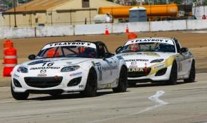 John Dean leads a Christian Szymczak in the closing laps at the Coronado Speed Festival. (Myles Regan photo)