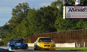 Chris Bovis and Bobby Lentz go side by side at the finish in the narrowest Runoffs margin in history. (John Steflik/SCCA photo)