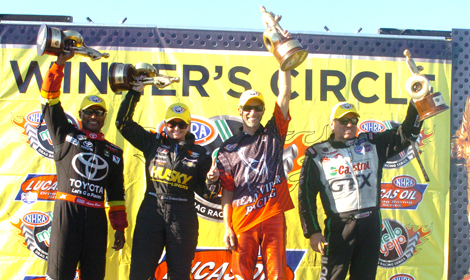 (From Left) Antron Brown, Erica Enders-Stevens, Matt Smith and John Force picked up victories Sunday at Gateway Motorsports Park. (Don Figler Photo)