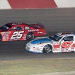 Jeff Storm (25) and James Swan during Saturday's ARCA Midwest Tour race at Elko (Minn.) Speedway. (Doug Hornickel Photo)