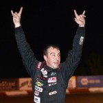 Andrew Morrissey celebrates after winning Saturday's ARCA Midwest Tour race at Elko (Minn.) Speedway. (Doug Hornickel Photo)