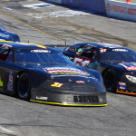 Kyle Grissom (31) battles Bobby Measmer Jr. early in Sunday's PASS South feature at Hickory Motor Speedway. (Chris Owens Photo)
