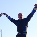 Tyler Church celebrates after winning Sunday's PASS South late-model race at Hickory Motor Speedway. (Chris Owens Photo)