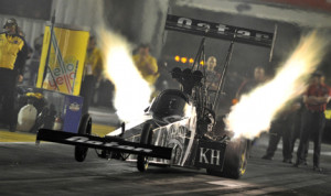 Shawn Langdon lead the way during NHRA Top Fuel qualifying Friday at Gateway Motorsports Park. (NHRA Photo)