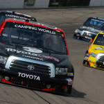 Darrell Wallace Jr. (54) leads a pack of trucks during Sunday's NASCAR Camping World Truck Series race at Iowa Speedway. (NASCAR Photo)