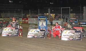Rico Abreu (left) and Chris Windom and their winning cars at Saturday night's 4-Crown Nationals at Ohio's Eldora Speedway. (Gordon Gill photo)