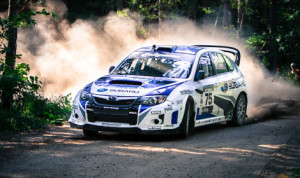 Subaru Rally Team USA's David Higgins and Craig Drew will try to lock up the Rally America Championship next month. (Alex Haugen Photo)