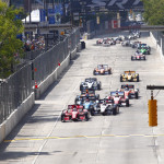 Scott Dixon leads the IZOD IndyCar Series field at the start of Sunday's Grand Prix of Baltimore. (IndyCar Photo)