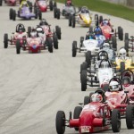 Michael Varacins leads a full field of Formula Vee racers Saturday at Road America. (Shawn Mueller photo)