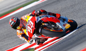 Marc Marquez on his way to his sixth MotoGP pole of 2013 Saturday at Misano. (MotoGP Photo)