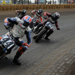 Brandon Robinson (44) leads Bryan Smith during Sunday's AMA Pro Flat Track event at the Illinois State Fairgrounds. (Don Figler Photo)
