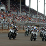 The AMA Pro Flat Track field at the start of Sunday's race at the Illinois State Fairgrounds. (Don Figler Photo)