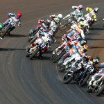AMA Pro Flat Track riders circle the Illinois State Fairground mile in Springfield, Ill., on Saturday. (Don Figler Photo)