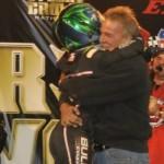 Car owner Keith Kunz embraces driver Rico Abreu in victory lane Saturday night at Eldora Speedway (Bill Weir photo)