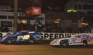 Ryan Gustin (19) won Friday's USMTS modified race at Deer Creek Speedway, while Rodney Sanders (20) claimed the championship. (USMTS photo)