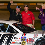 Brian Campbell celebrates after winning the Tony Bettenhausen Memorial 100 on Saturday at Illiana Motor Speedway. (Bruce Nuttleman Photo)