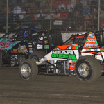 Brady Bacon (69), Dave Darland (71p) and Chase Stockon during Saturday's AMSOIL USAC National Sprint Car Series race at Riverside Int'l Speedway in Arkansas. (Dave Heithaus Photo)