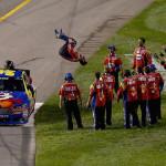 Carl Edwards celebrates after winning Saturday's NASCAR Sprint Cup Series race at Richmond (Va.) Int'l Raceway. (NASCAR Photo)