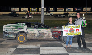 Cole Traugott scored another IMCA modified victory Saturday at Dodge City Raceway Park. (Lonnie Wheatley Photo)