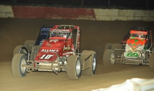 Jerry Coons Jr. (10) pulls away from Brady Bacon (69) Saturday night at the Terre Haute (Ind.) Action Track. (David E. Heithaus photo)