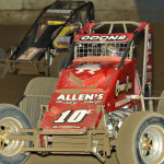 Jerry Coons Jr. (10) and Blake Fitzpatrick during AMSOIL USAC National Sprint Car Series action at the Terre Haute (Ind.) Action Track last year. (Dave Heithaus Photo)