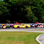 Corey Bubar (42) leads the PASS North field to the green flag during a restart at Beech Ridge Motor Speedway on Sunday. (Ken MacIsaac Photo)