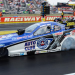 Robert Hight performs a burnout prior to racing in the finals of the NHRA Funny Car class during the Chevrolet Performance U.S. Nationals on Monday. (Mark Schmidt Photo)