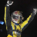 Joey Saldana celebrates after winning Friday's Gold Cup preliminary at Silver Dollar Speedway. (Tom Parker Photo)