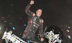 Jason Meyers celebrates after winning the Gold Cup Race of Champions at Silver Dollar Speedway. (Tom Parker Photo)