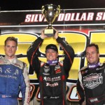 Jason Meyers (center), Andy Forsberg (left) and Jonathan Allard completed the podium for Saturday's Gold Cup at Silver Dollar Speedway. (Tom Parker Photo)