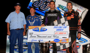 Stewart Friesen captured Sunday's Lucas Oil Empire Super Sprint feature at Utica-Rome Speedway.