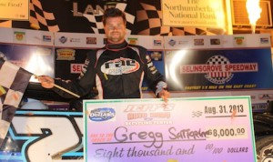 Gregg Satterlee won Saturday's World of Outlaws Late Model Series race at Selinsgrove (Pa.) Speedway. (Kevin Kovac/WoO LMS photo)
