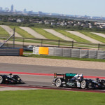 The Level 5 Motorsports team cars on track during Saturday's American Le Mans Series race at Circuit of the Americas. (Doug Day Photo)