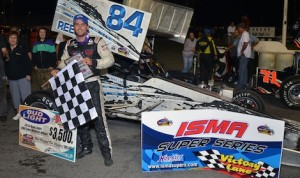 Mike Lichty in victory lane Saturday night at Oswego (N.Y.) Speedway.