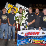 Jon McKennedy in victory lane with his crew after winning Saturday's International Supermodified Ass'n Star Classic at Star Speedway. (Jim Feeney Photo)
