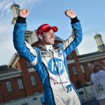 Simon Pagenaud celebrates after winning Sunday's Grand Prix of Baltimore. (IndyCar Photo)