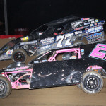 Joey Kramer (77) races with Greg Amick during modified competition at Indiana's Lincoln Park Speedway. (LPS photo)