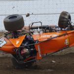 Thomas Meseraull flips his sprint car during qualifying at Indiana's Kokomo Speedway. (Gary Gasper photo)