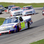 Chase Elliott (94) leads the field during Sunday's NASCAR Camping World Truck Series race at Canadian Tire Motorsports Park. (NASCAR Photo)