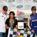 Chase Elliott shares victory lane with his father Bill Elliott and mother Cindy Elliott after winning Sunday's NASCAR Camping World Truck Series race at Canadian Tire Motorsports Park. (NASCAR Photo)