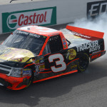 Ty Dillon limps his damaged Chevrolet to the finish line after a last-lap crash during Sunday's NASCAR Camping World Truck Series race at Canadian Tire Motorsports Park. (NASCAR Photo)